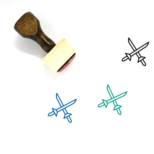 Swords Wooden Rubber Stamp No. 91