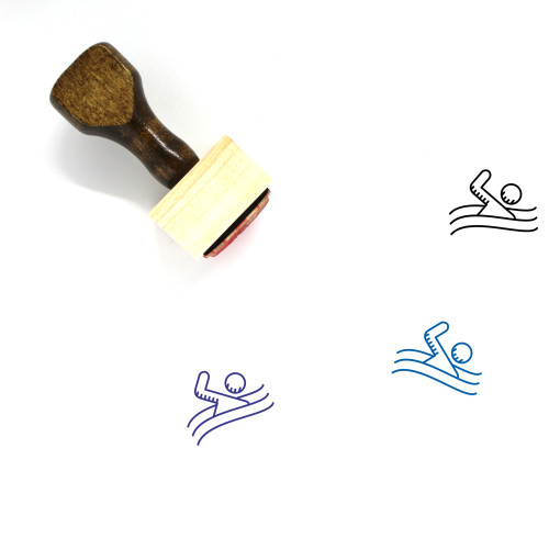 Swimming Wooden Rubber Stamp No. 45