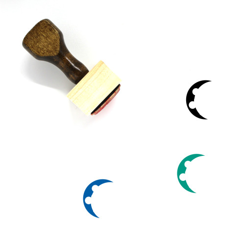 Waning Crescent Wooden Rubber Stamp No. 14