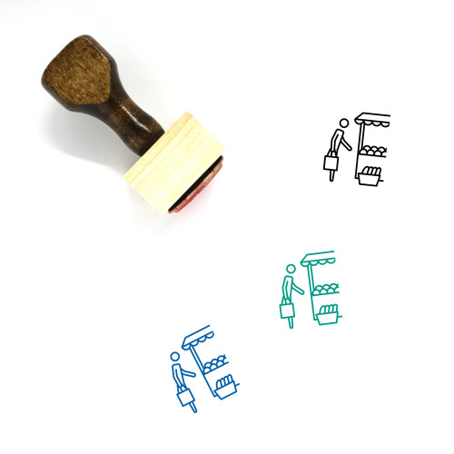 Grocery Shopping Wooden Rubber Stamp No. 6