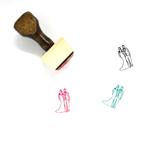 Bride And Groom Wooden Rubber Stamp No. 3