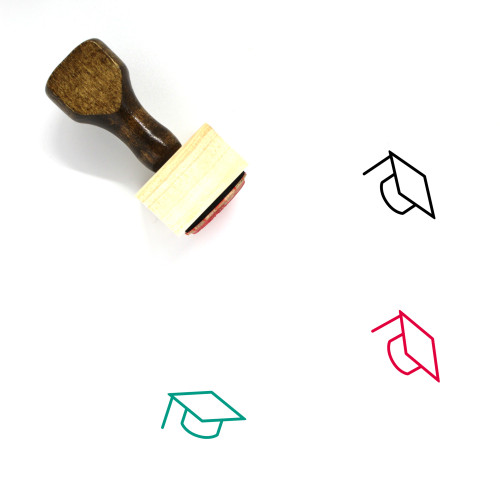 Mortar Board Wooden Rubber Stamp No. 49