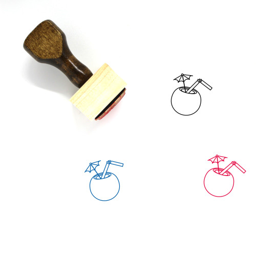 Coconut Drink Wooden Rubber Stamp No. 39