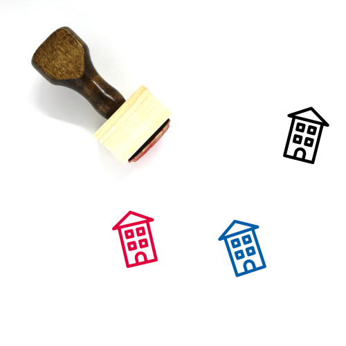 Flat Buildings Wooden Rubber Stamp No. 1