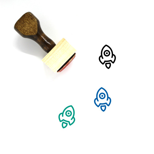 Rocket Wooden Rubber Stamp No. 174