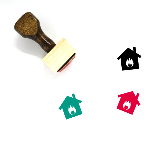 House Fire Wooden Rubber Stamp No. 24