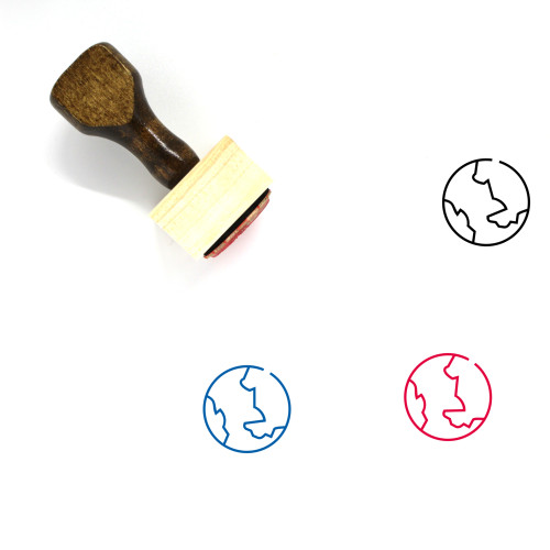 Earth Globe Wooden Rubber Stamp No. 42
