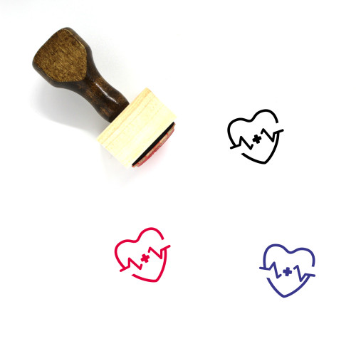 Heart Beat Wooden Rubber Stamp No. 42
