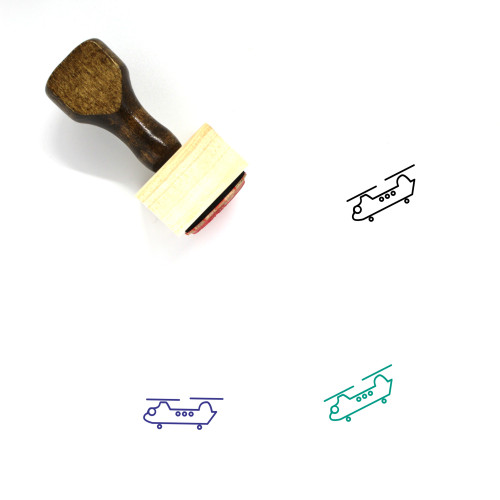 Helicopter Wooden Rubber Stamp No. 18