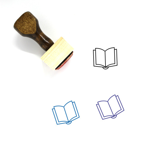 Book Open Wooden Rubber Stamp No. 14