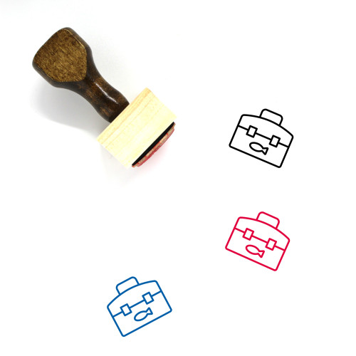 Fishing Box Wooden Rubber Stamp No. 4