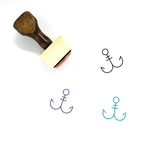 Fishing Hook Wooden Rubber Stamp No. 15