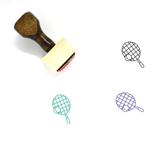 Tennis Racket Wooden Rubber Stamp No. 3