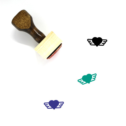 Flying Heart Wooden Rubber Stamp No. 10