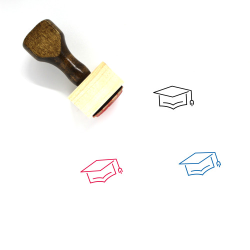 Square Academic Cap Wooden Rubber Stamp No. 5