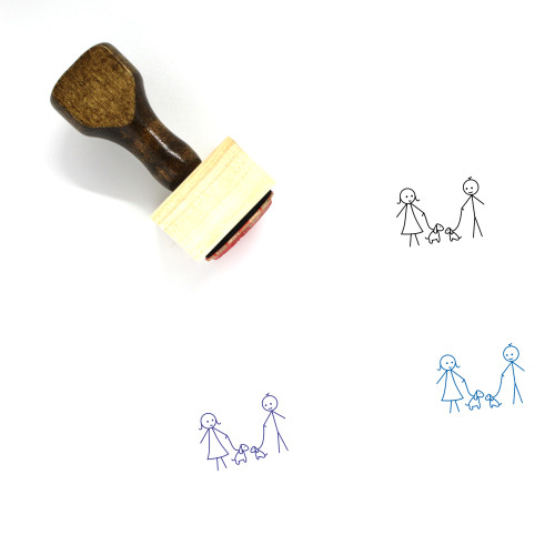 Couple With Pet Wooden Rubber Stamp No. 1