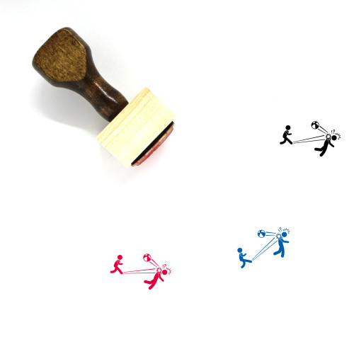 Rascal Kid Kicking Ball At Adult Wooden Rubber Stamp No. 1