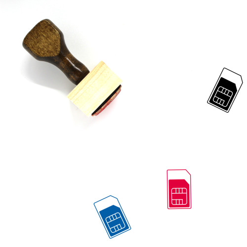 SIM Card Wooden Rubber Stamp No. 50