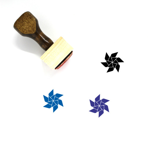 Paper Windmill Wooden Rubber Stamp No. 10