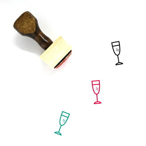 Champagne Glass Wooden Rubber Stamp No. 39