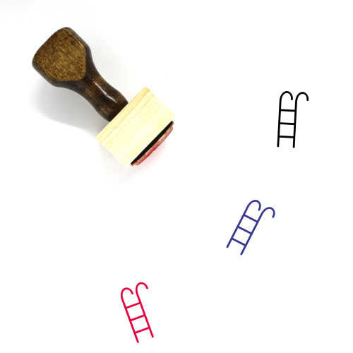 Pool Ladder Wooden Rubber Stamp No. 12