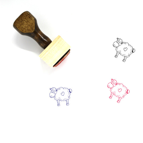 Lamb Wooden Rubber Stamp No. 14