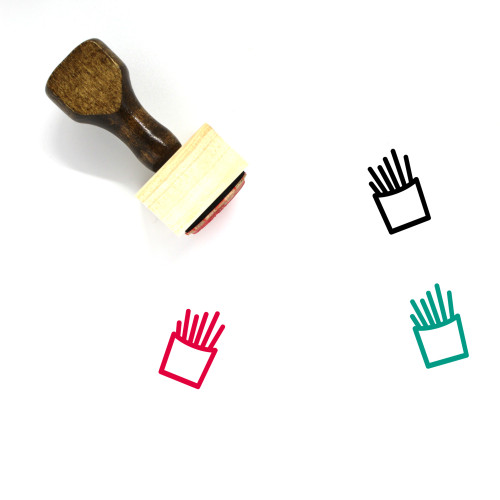 French Fries Wooden Rubber Stamp No. 65