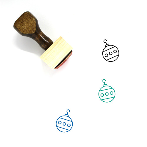 Christmas Bauble Wooden Rubber Stamp No. 37