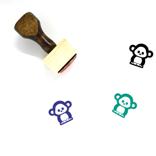 Monkey Wooden Rubber Stamp No. 54