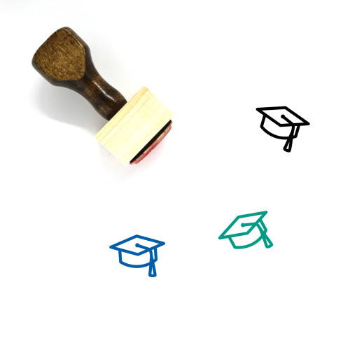 Mortar Board Wooden Rubber Stamp No. 38