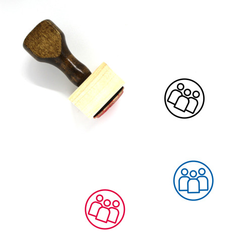 Group Of People Wooden Rubber Stamp No. 16
