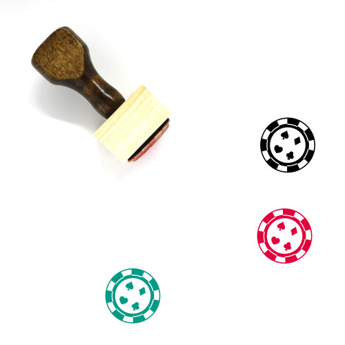 Poker Chip Wooden Rubber Stamp No. 5