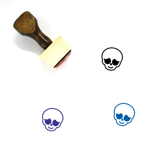 Shy Skull Wooden Rubber Stamp No. 1