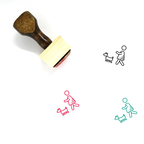 Walk The Dog Wooden Rubber Stamp No. 2