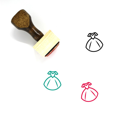 Gown Wooden Rubber Stamp No. 13