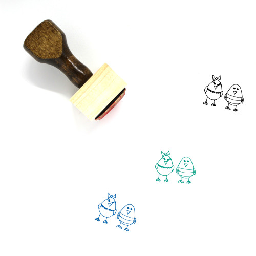 Chickens Wooden Rubber Stamp No. 1