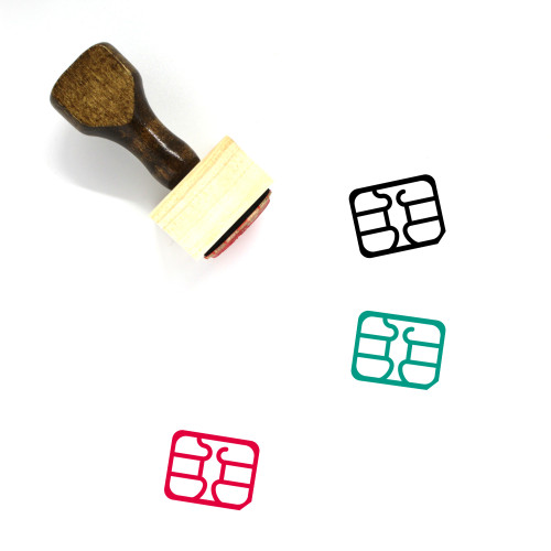 SIM Card Wooden Rubber Stamp No. 52