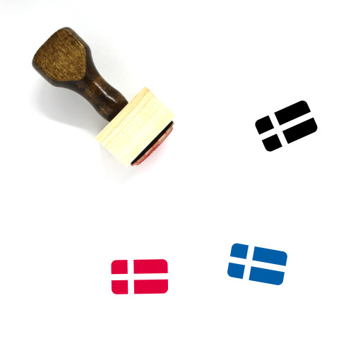 Sweden Flag Wooden Rubber Stamp No. 14