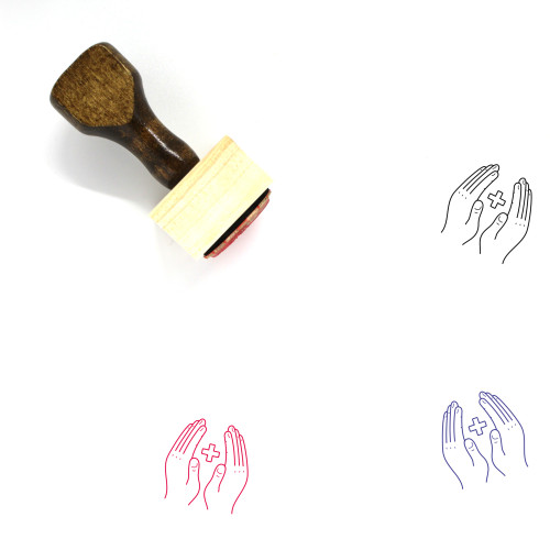 Caring Hands Wooden Rubber Stamp No. 4