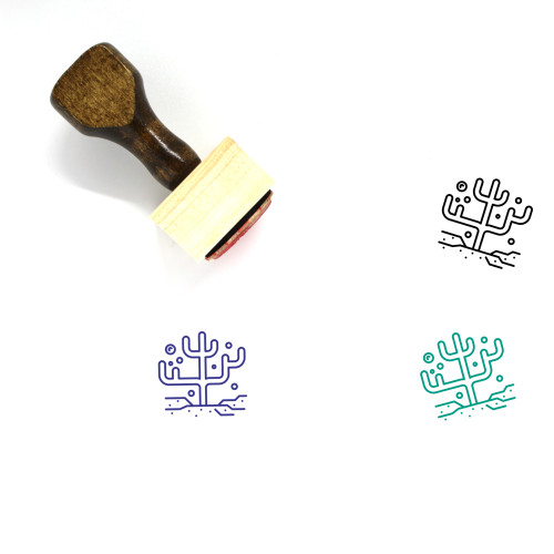 Coral Wooden Rubber Stamp No. 9