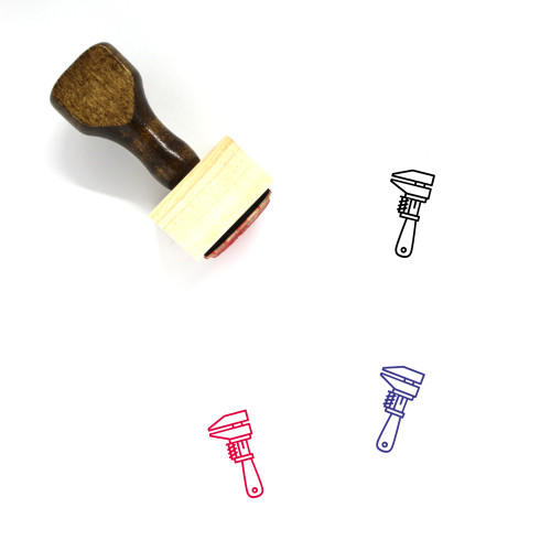 Monkey Wrench Wooden Rubber Stamp No. 3