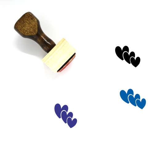 Hearts Wooden Rubber Stamp No. 289