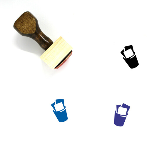 Trash Can Wooden Rubber Stamp No. 132