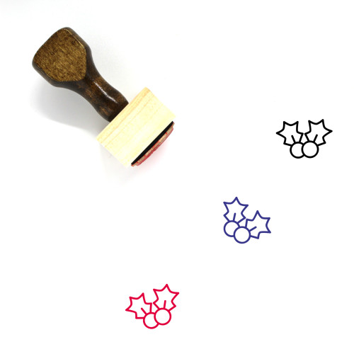 Holly Wooden Rubber Stamp No. 52