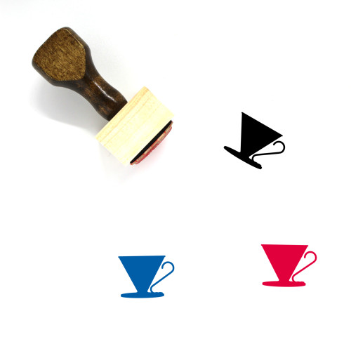 Pour Over Drip Funnel Wooden Rubber Stamp No. 2