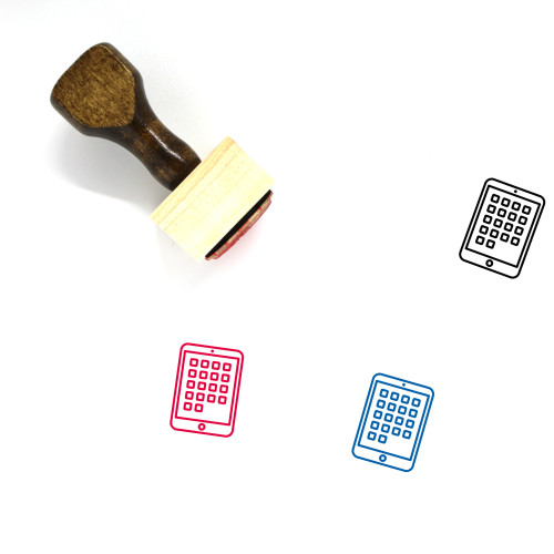 Tablet Wooden Rubber Stamp No. 156