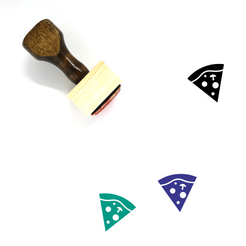 Pizza Wooden Rubber Stamp No. 171