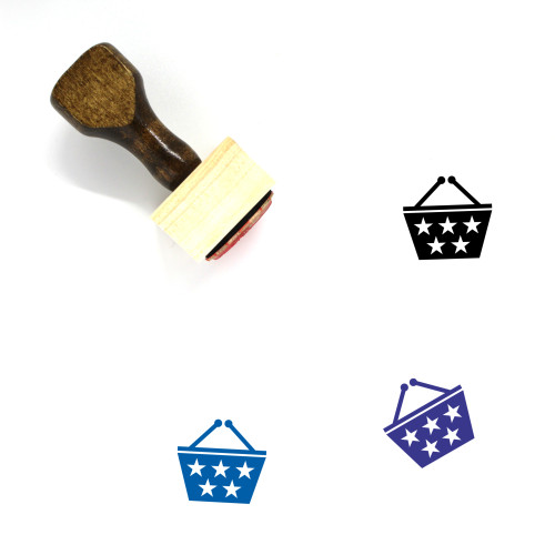 Shopping Basket Wooden Rubber Stamp No. 103