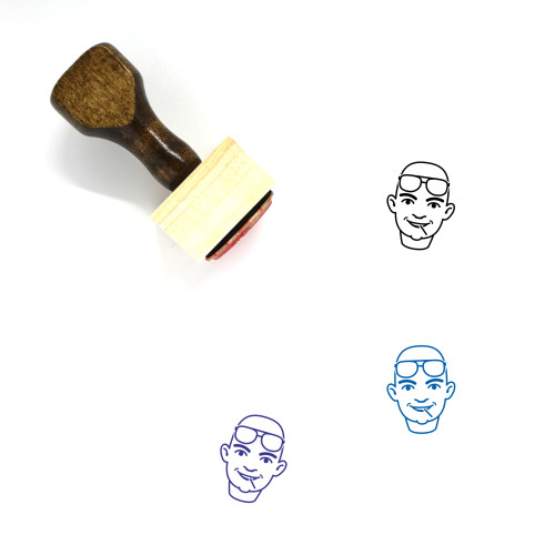 Man Wooden Rubber Stamp No. 480