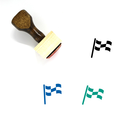 Checkered Flag Wooden Rubber Stamp No. 40
